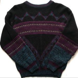 CAMPUS Vintage Aztec Western Vibe Black Sweater